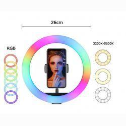 Кольцевая LED лампа 26см 25W 3 режима свечения + RGB MJ26