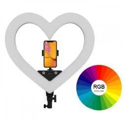 Кольцевая LED лампа 48см 48W в форме сердца 3 режима свечения + RGB Color Heart BX-34