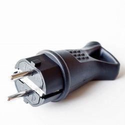 Вилка RIGHT HAUSEN Waterproof прямая с/з с кольцом черная IP44 HN-021082N