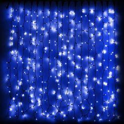 Гирлянда внешняя DELUX Curtain 912LED 2x3м. синяя, черный провод