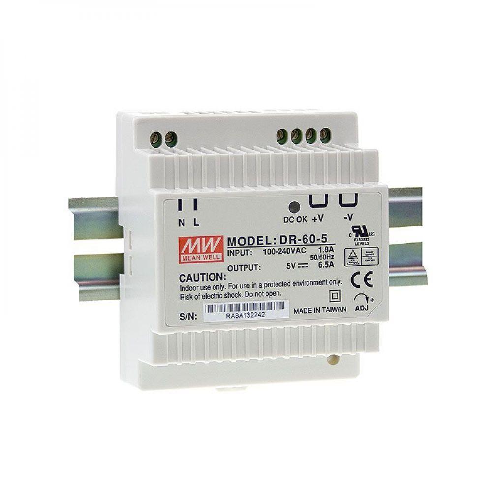 Блок питания Mean Well На DIN-рейку 32.5 Вт, 5V, 6.5 А DR-60-5