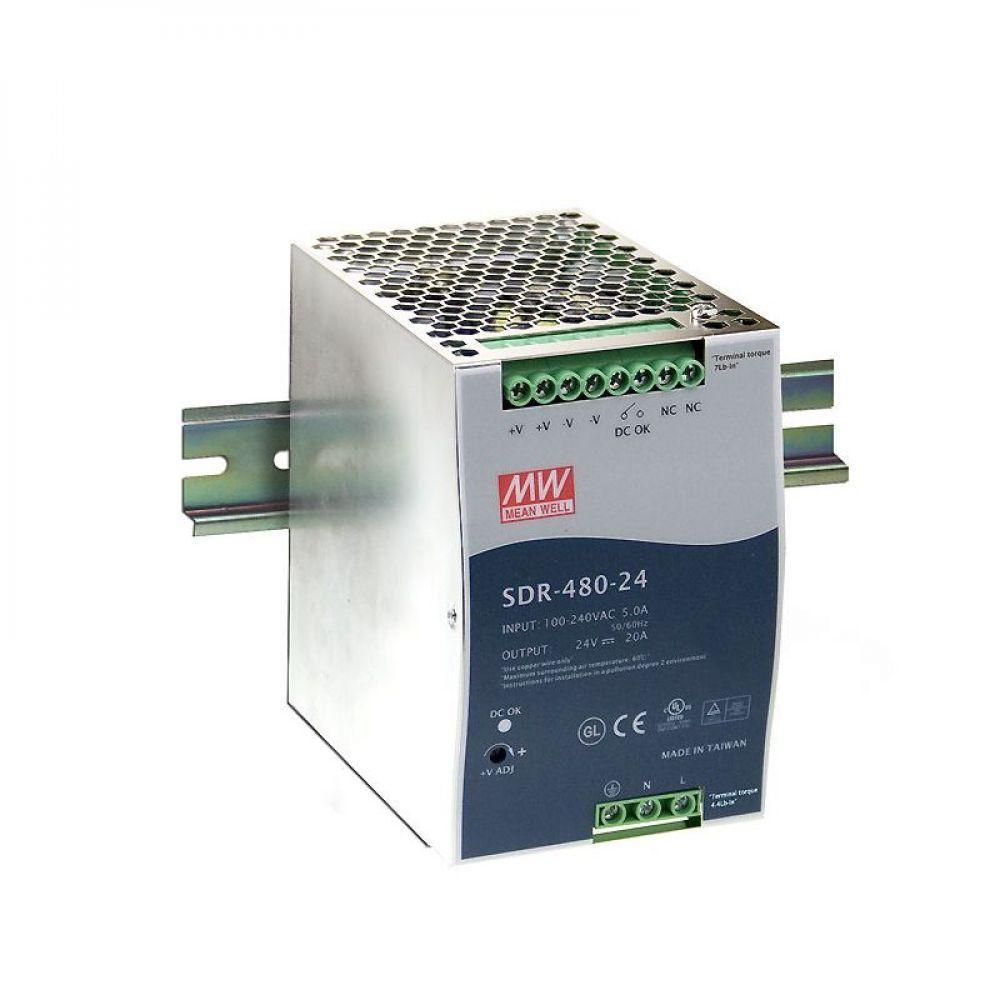Блок питания Mean Well На DIN-рейку 480 Вт, 24V, 20 А SDR-480P-24