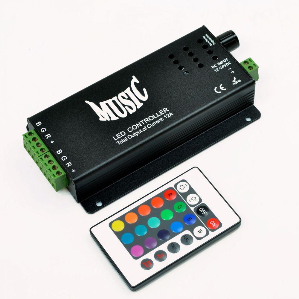 RGB-контроллер Venom музыкальный 10A с IR ДУ (24 кнопки на пульте)