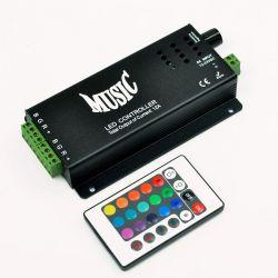 RGB-контроллер Ledstorm музыкальный 10A с IR ДУ (24 кнопки на пульте)