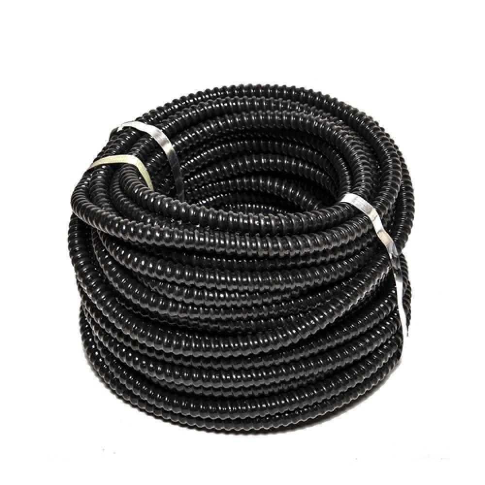 Металлорукав РЗЦ-П изолированный черный с протяжкой D14мм (25м)