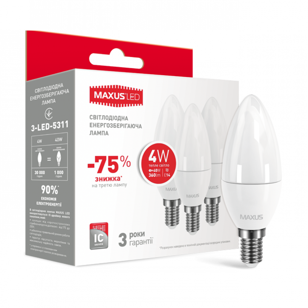 Набор LED ламп MAXUS C37 CL-F 4W 220V E14 (по 3шт) (3-LED-5311)