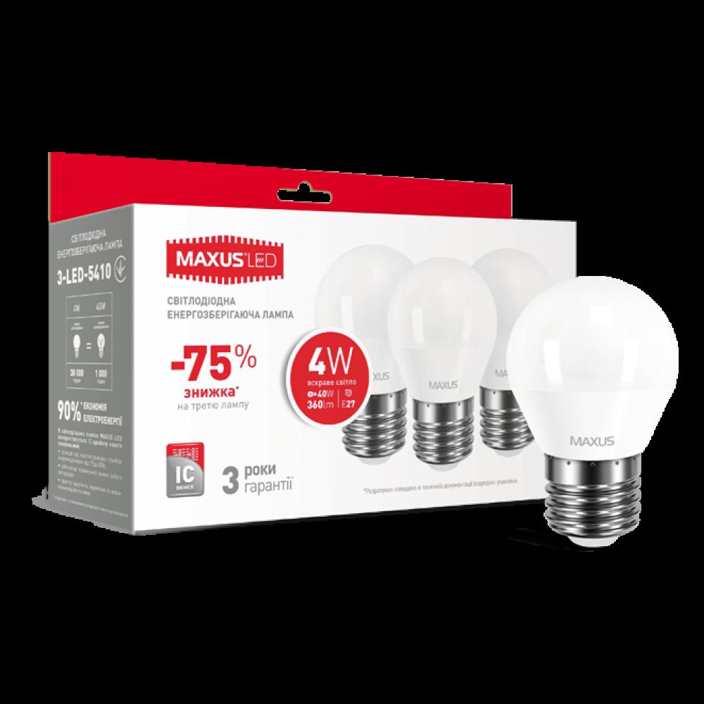 Набор LED ламп MAXUS G45 F 4W 220V E27(по 3шт.) (3-LED-5410)