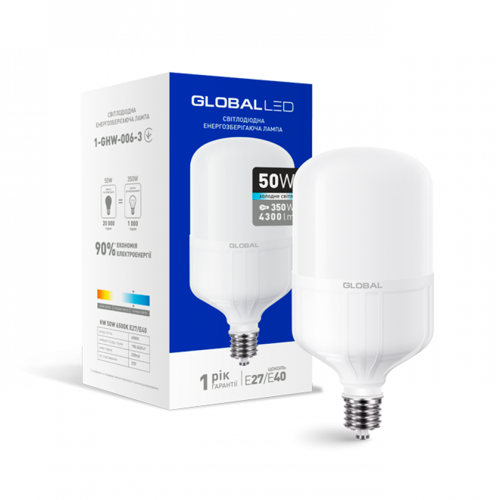LED лампа HW GLOBAL 50W 6500K E27 / E40 (1-GHW-006-3)