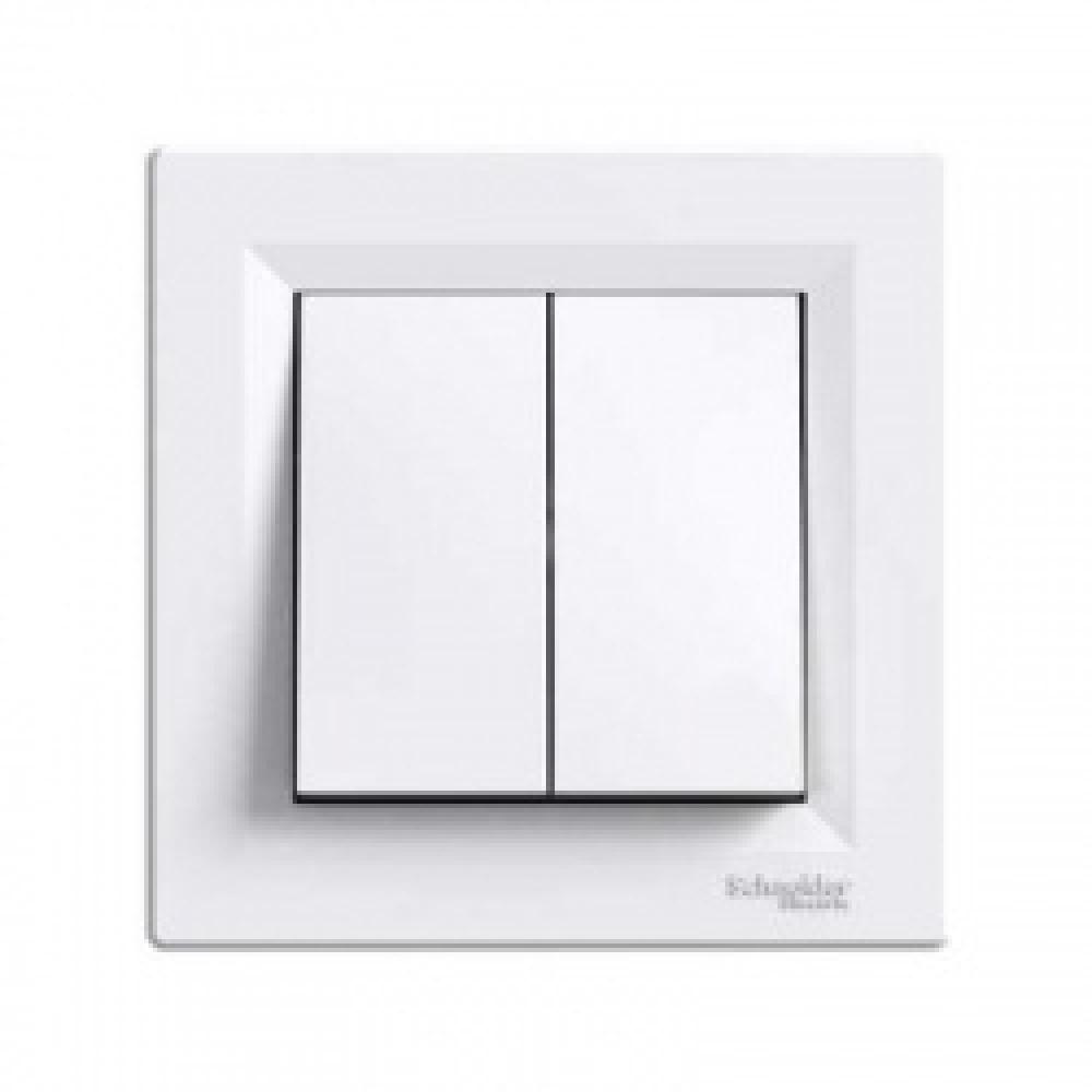 Выключатель двухклавишный самозаж. белый (ASFORA)