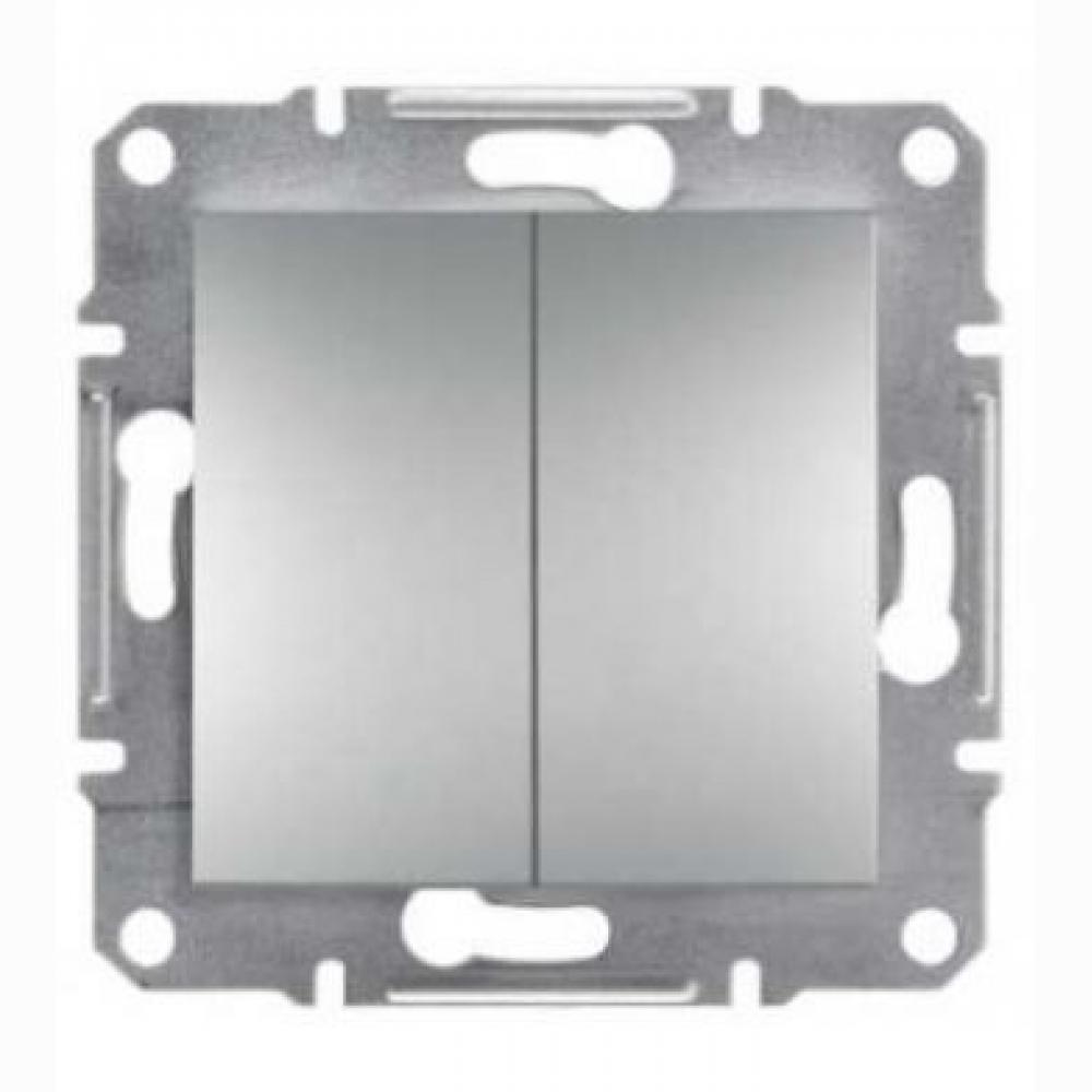 Выключатель двухклавишный самозаж. сталь (ASFORA)