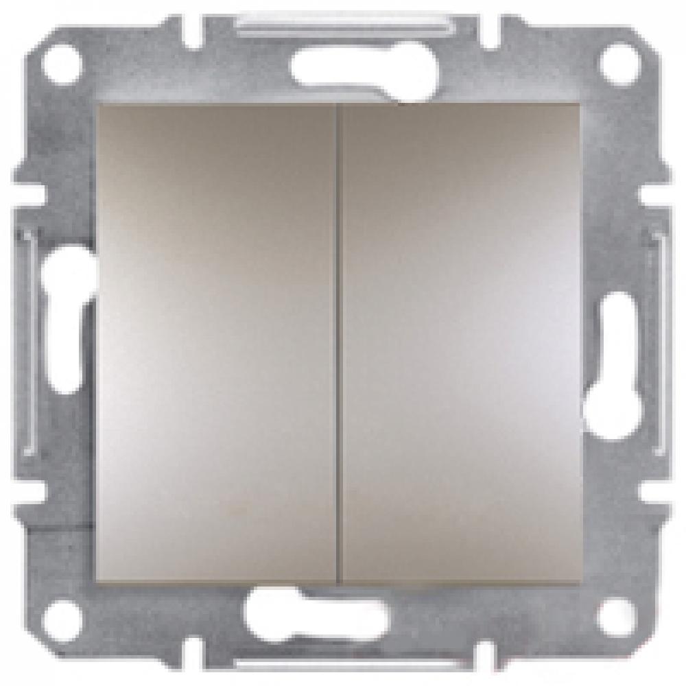 Выключатель двухклавишный самозаж. бронза (ASFORA)