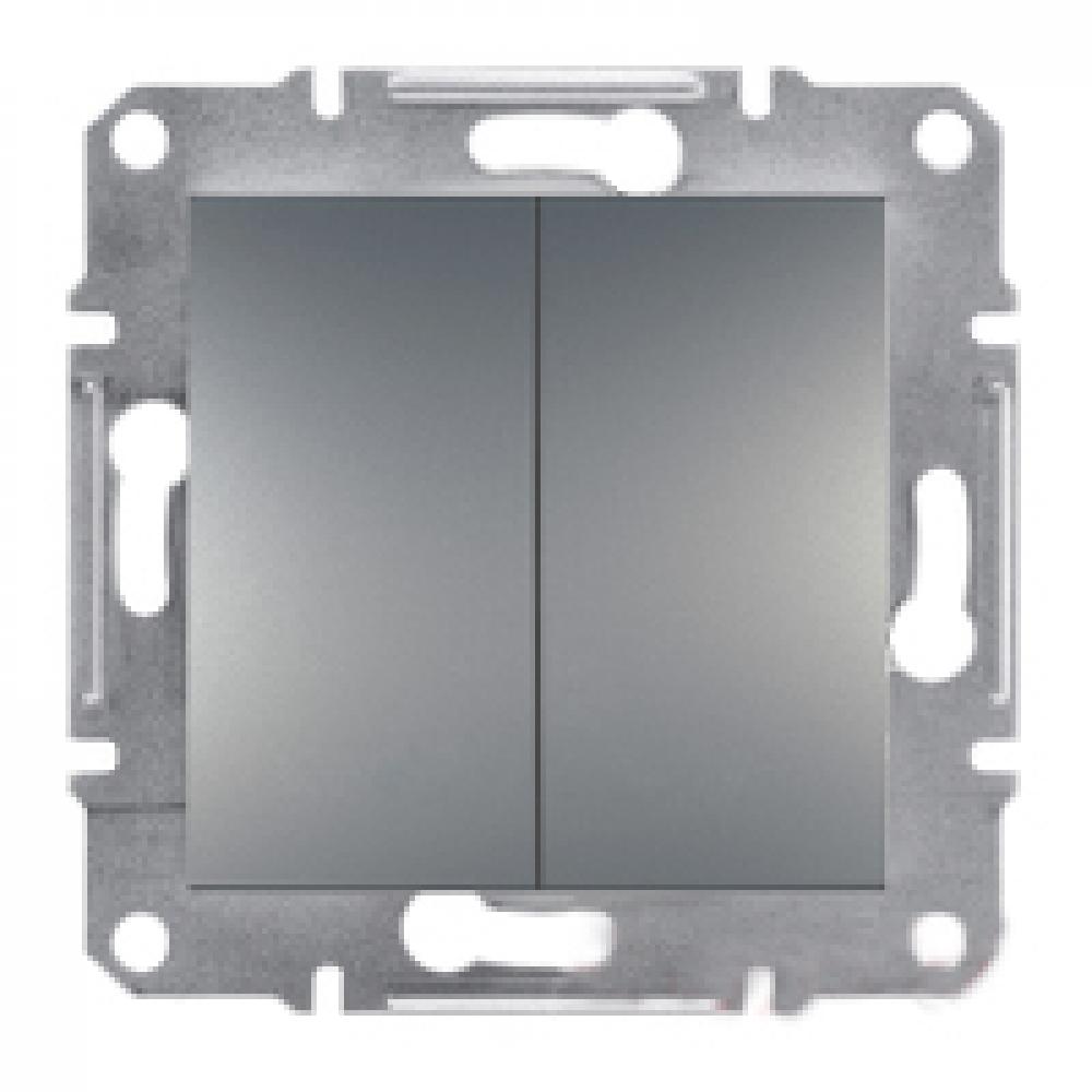 Выключатель двойной проходной сталь (ASFORA)