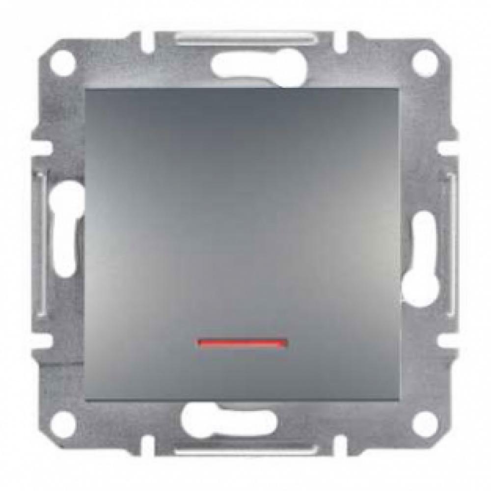 Выключатель одноклавишный сталь с подсветкой (ASFORA)