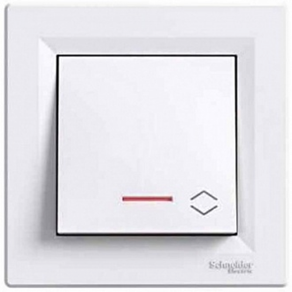 Выключатель одноклавишный с подсветкой белый (ASFORA)