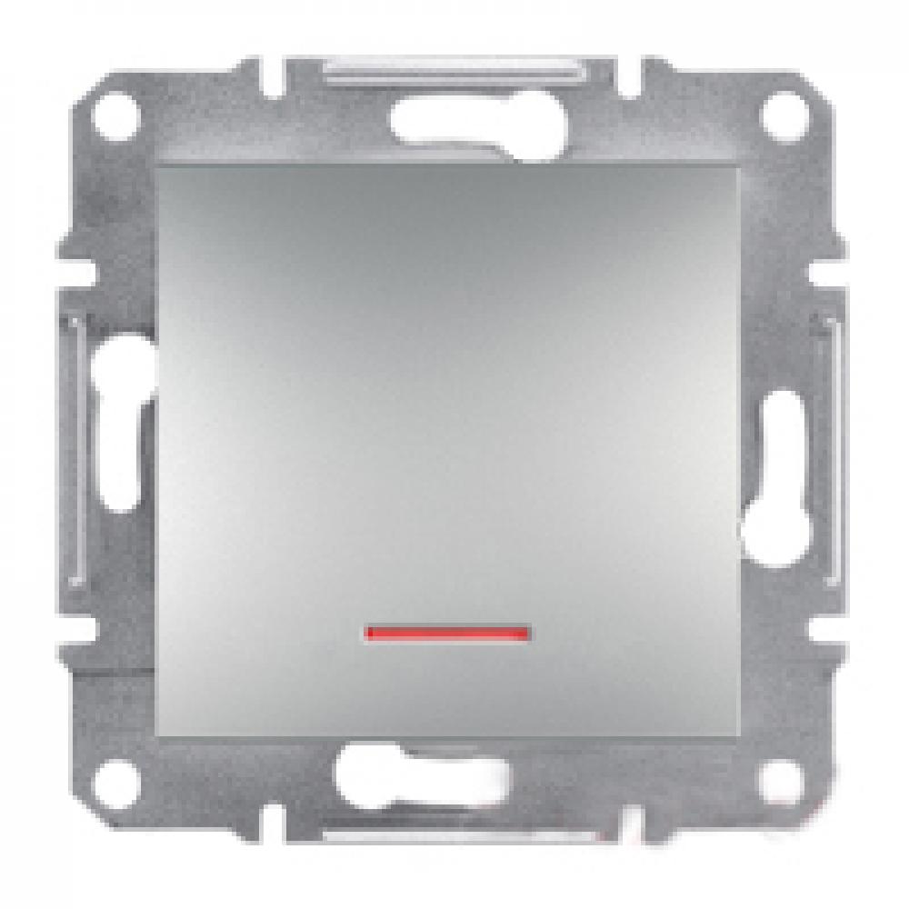 Выключатель одноклавишный с подсветкой алюминиевый (ASFORA)