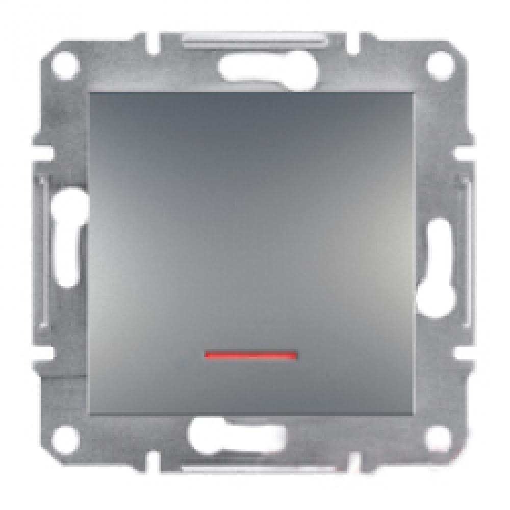 Выключатель одноклавишный с подсветкой сталь (ASFORA)