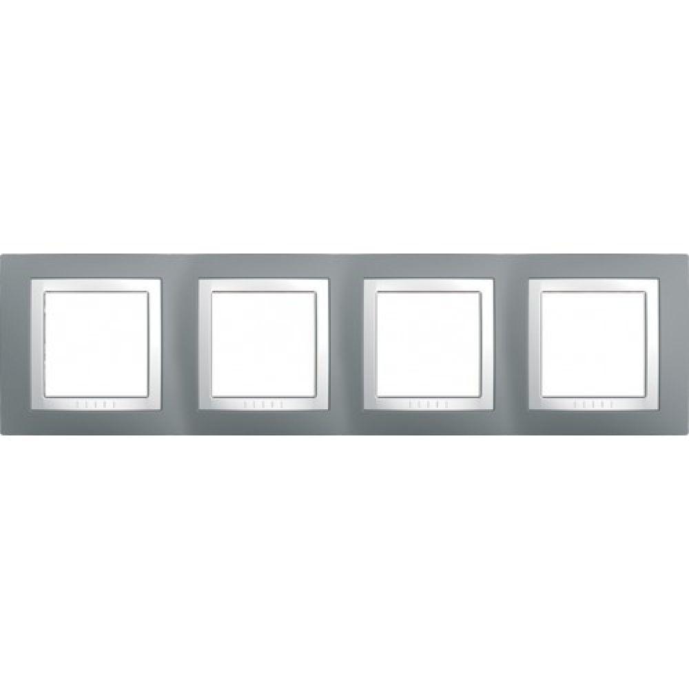 Рамка 4 пост. сірий техно / білий (UNICA)