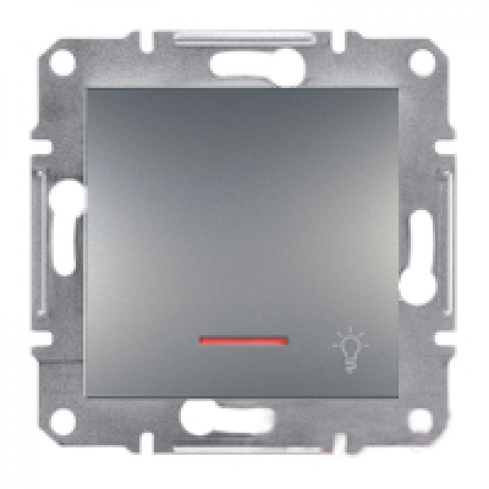 Кнопка - свет с подсветкой сталь (ASFORA)