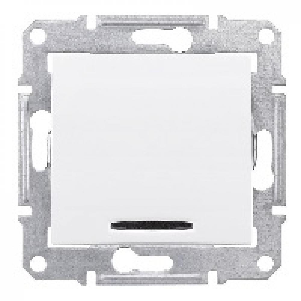 2-х полюсный одноклавишный выключатель белый с подсветкой (SEDNA)