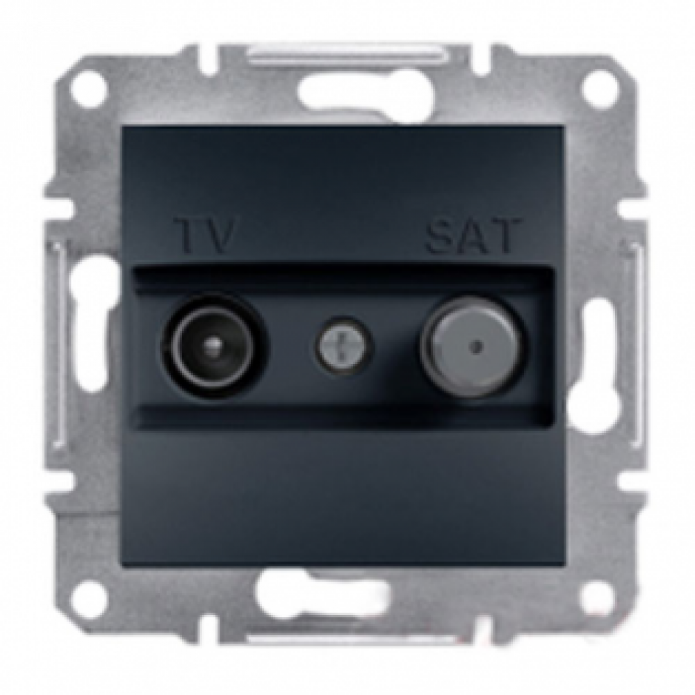 Розетка TV-SAT проходная антрацит (ASFORA)