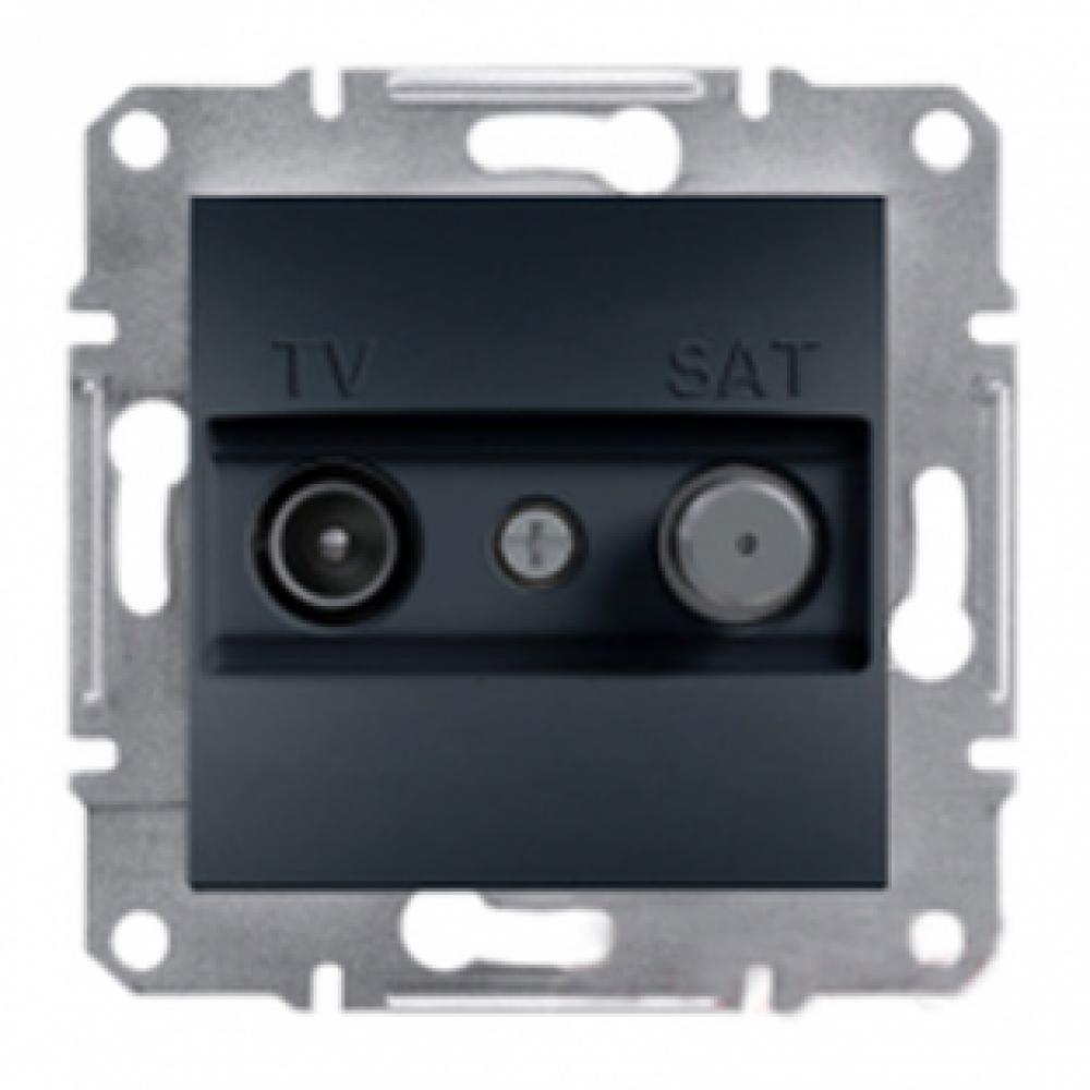 Розетка TV-SAT прохідна антрацит (ASFORA)