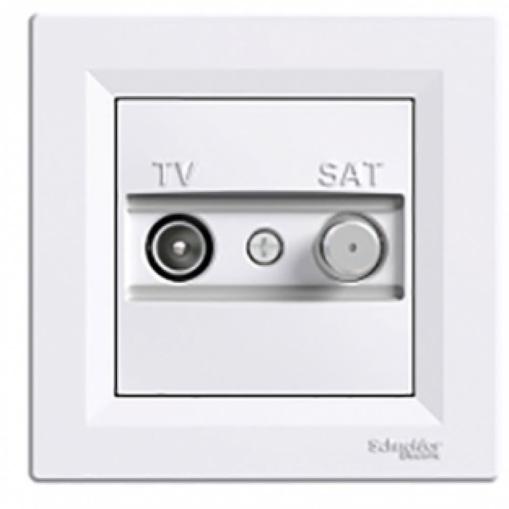 Розетка TV-SAT проходная белая (ASFORA)