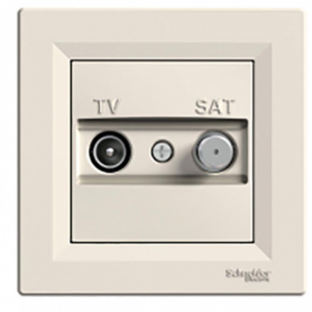 Розетка TV-SAT проходная крем (ASFORA)