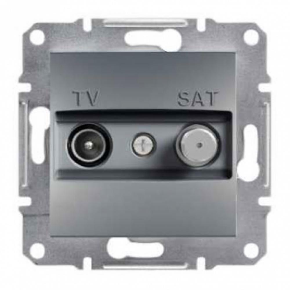 Розетка TV-SAT проходная сталь (ASFORA)