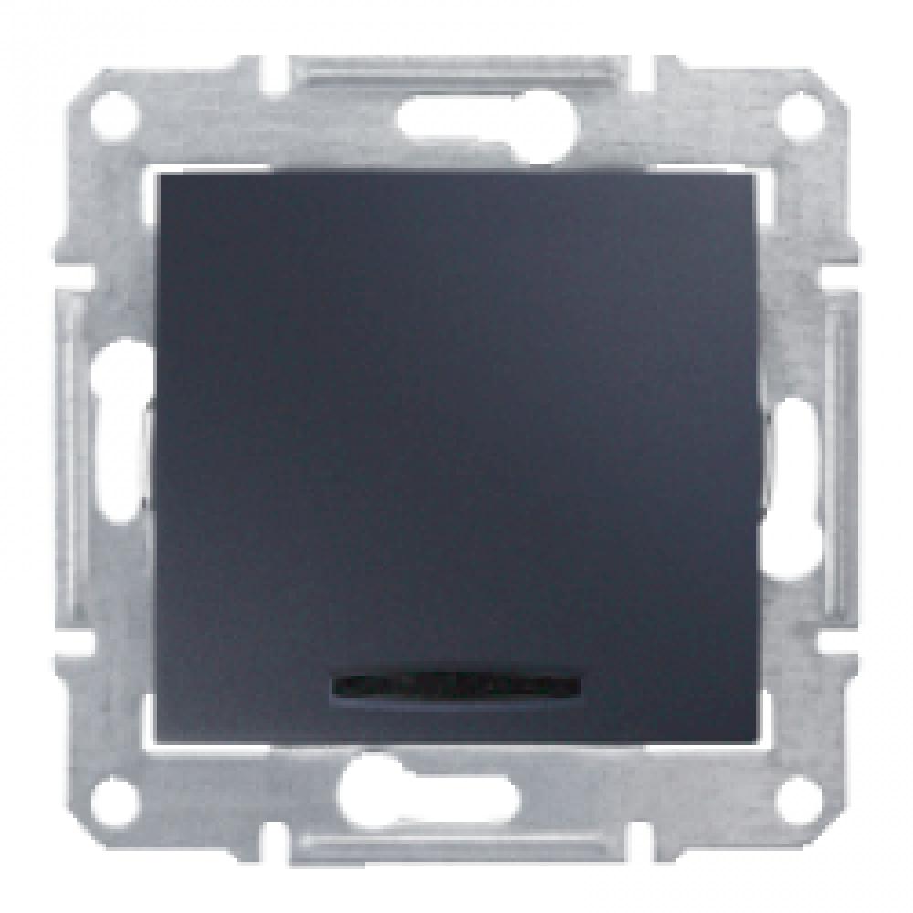 2-х полюсный однок. выкл. с подсветкой графит (SEDNA)