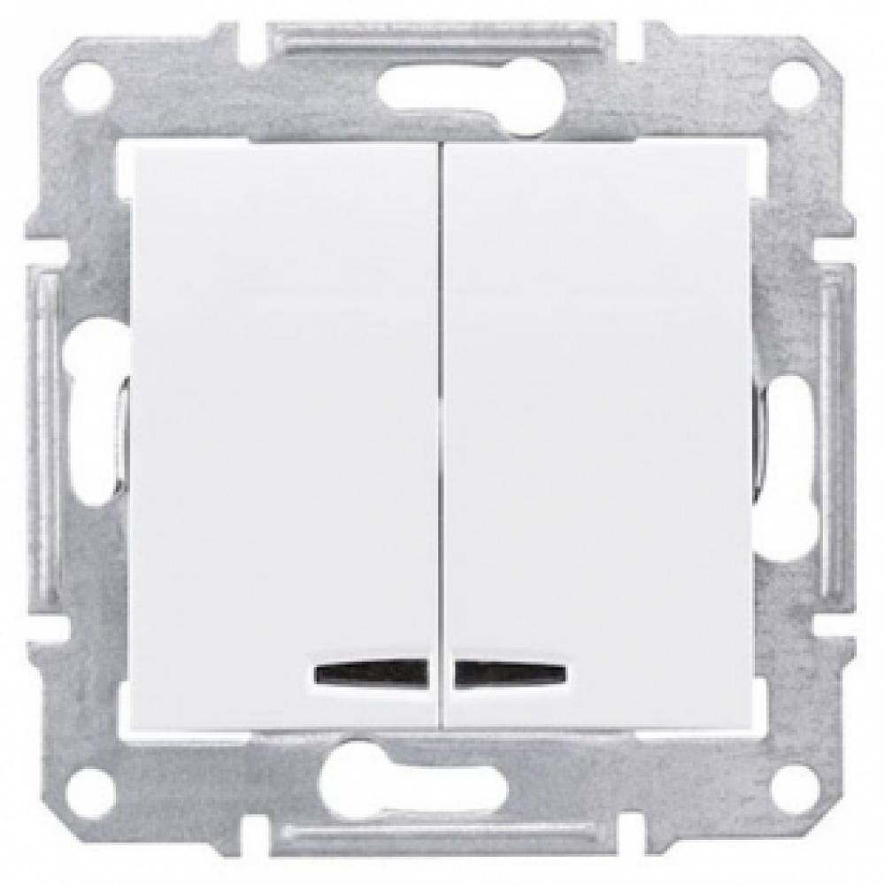 2-кл выключатель белый с подсветкой (SEDNA)