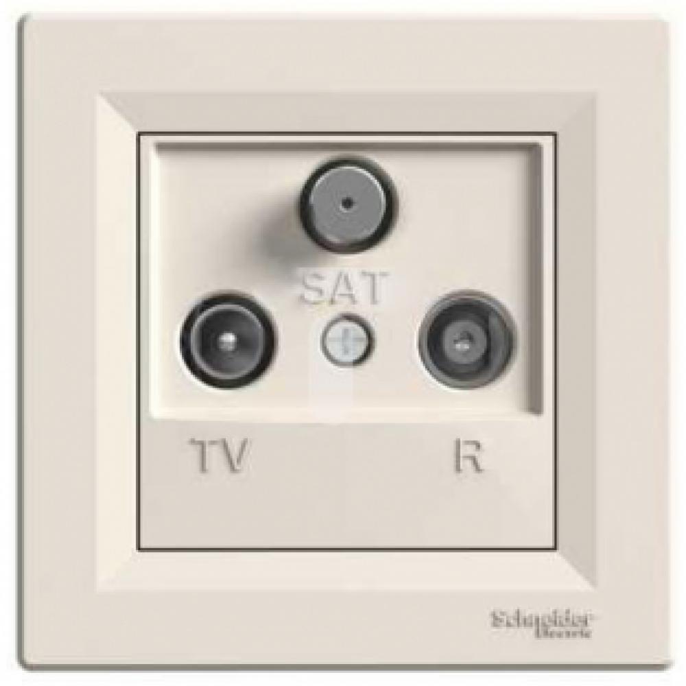 Розетка TV-R-SAT проходная белая (ASFORA)