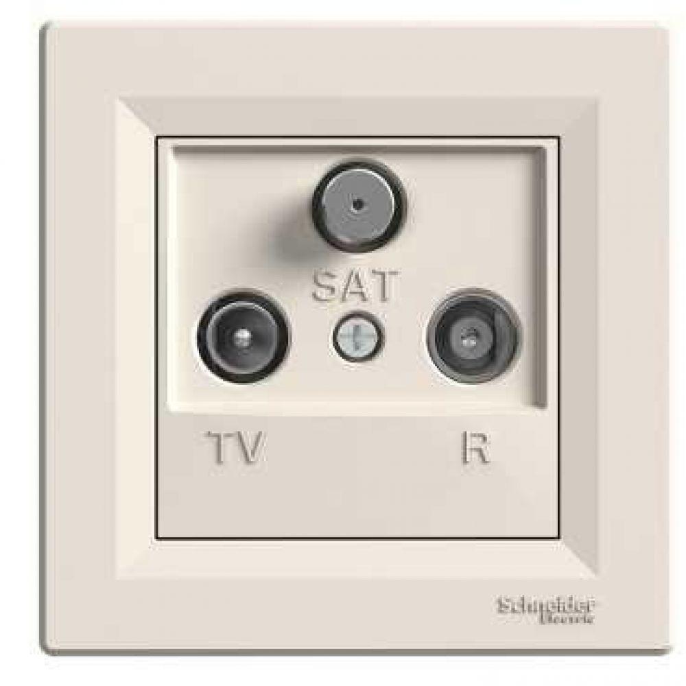 Розетка TV-R-SAT проходная крем (ASFORA)
