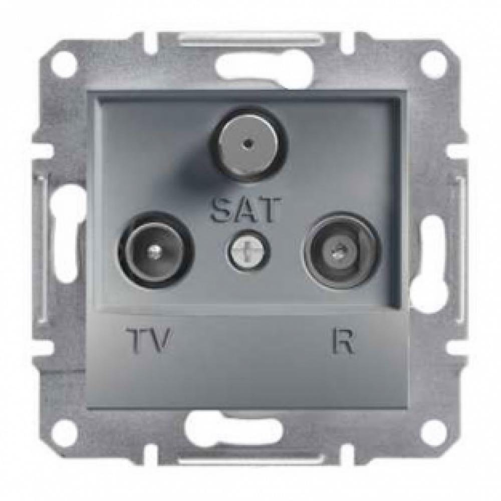 Розетка TV-R-SAT проходная сталь (ASFORA)