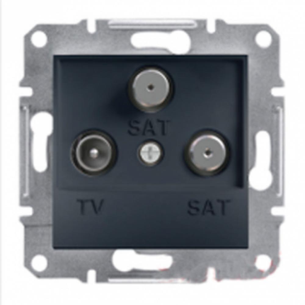 Розетка TV-SAT-SAT конечная антрацит (ASFORA)