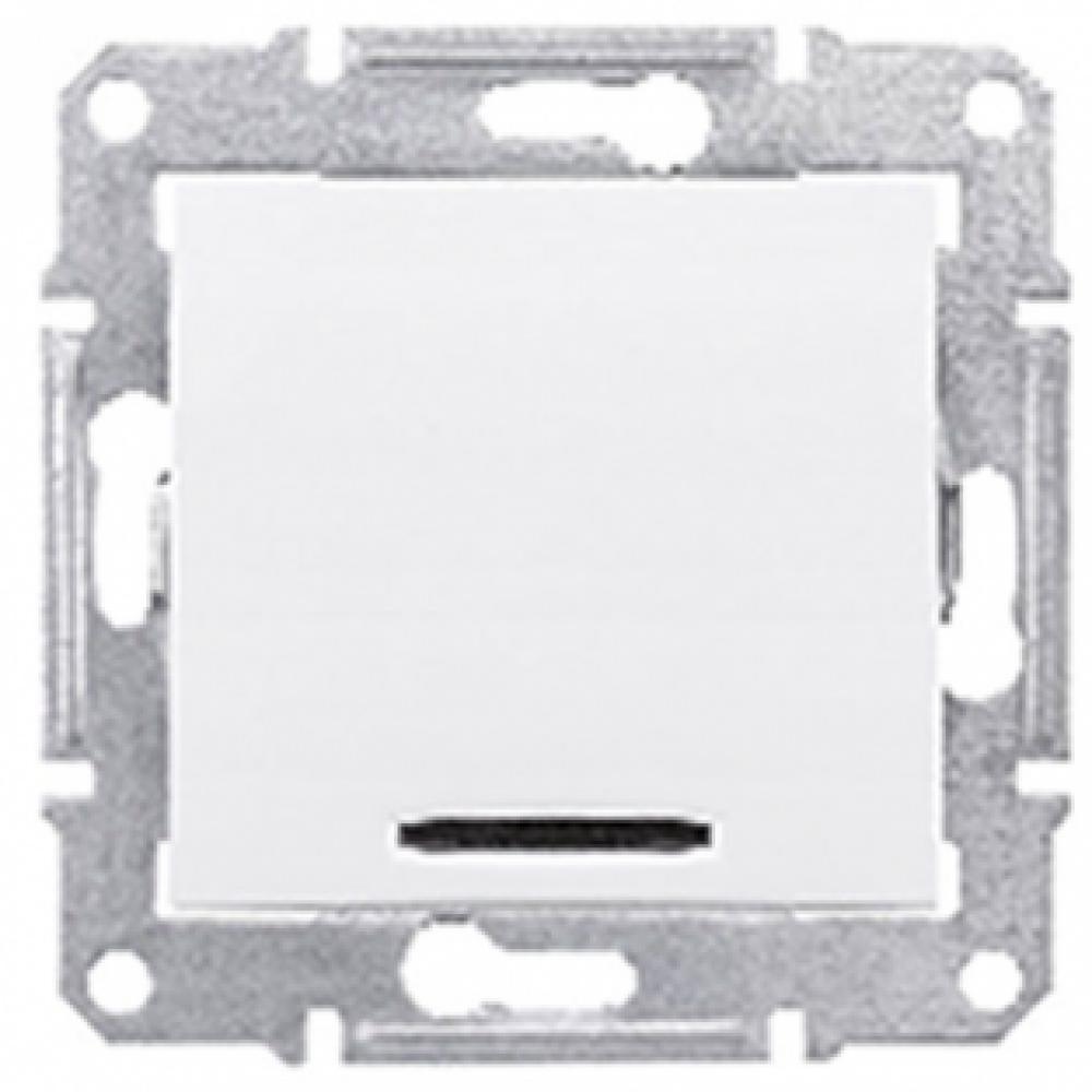 Однокнопочный выключатель с подсветкой белый (SEDNA)