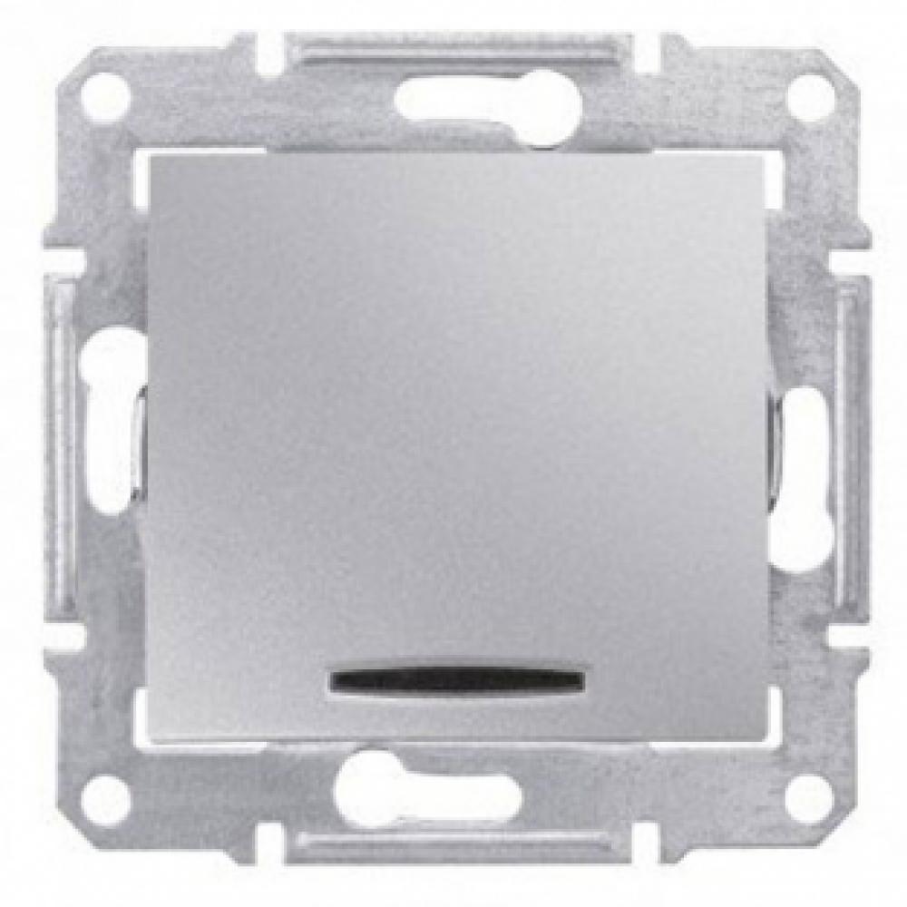 Однокнопочный выключатель алюм. с подсветкой (SEDNA)