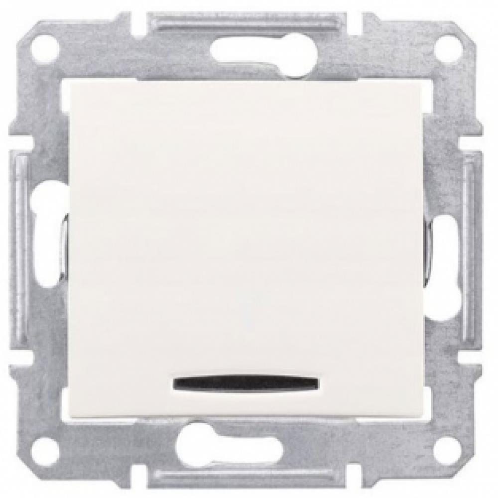 Однокнопочный выключатель белый с подсветкой (SEDNA)