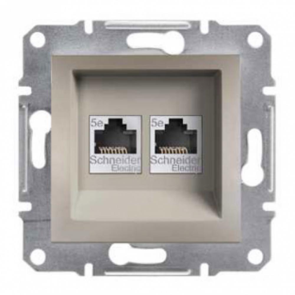 Розетка комп'ютерна подвійна бронза (ASFORA)