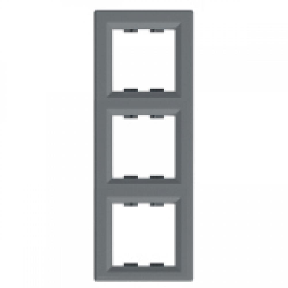 Рамка тройная вертикальная сталь (ASFORA)