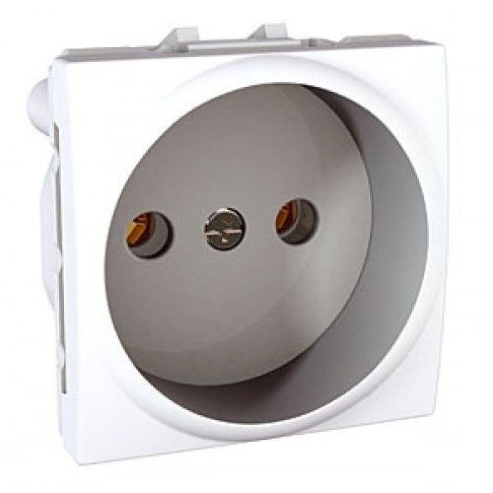 Розетка без заземления с защитными шторками 2 модуля белая (UNICA)