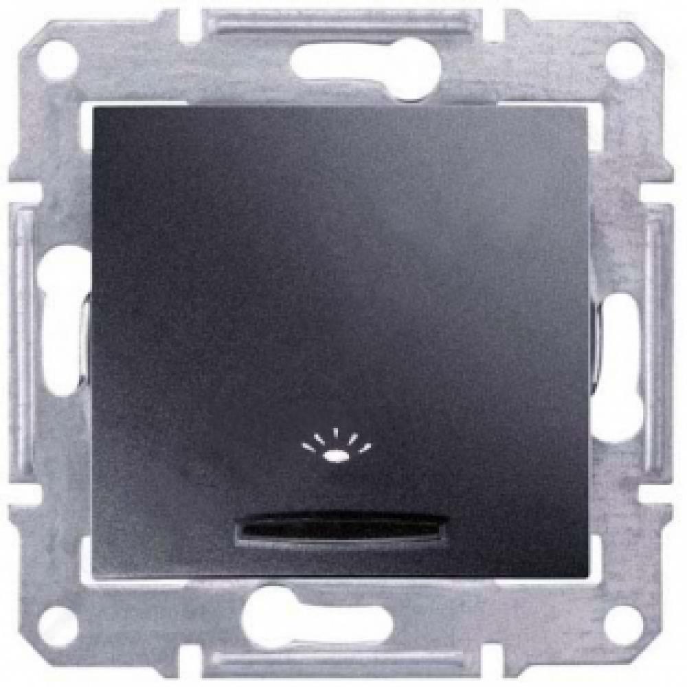 Выключатель кнопка Свет с подсветкой графит (SEDNA)