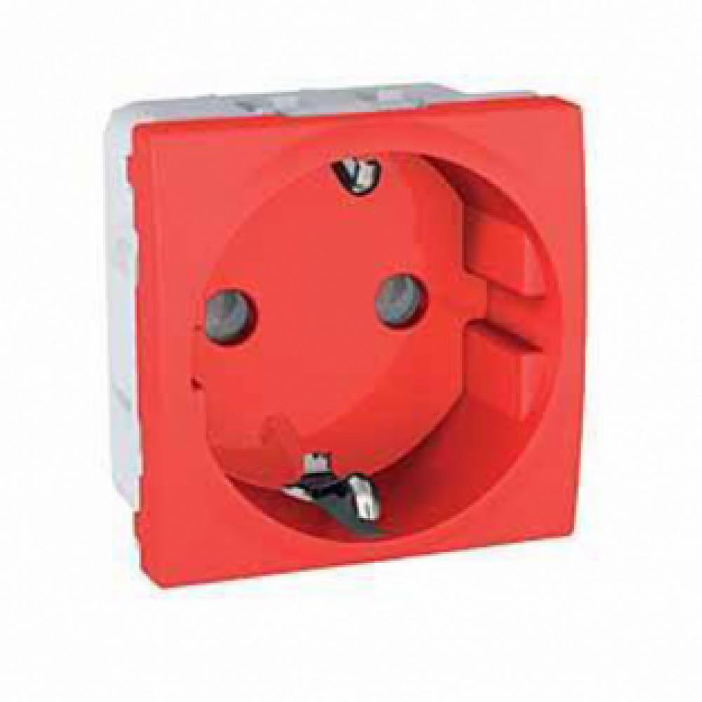 Розетка с заземлением и защитными шторками красная (UNICA)
