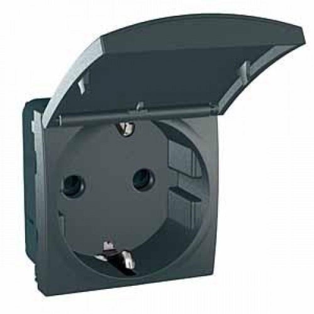 Розетка с заземлением и защитными шторками черная (UNICA)