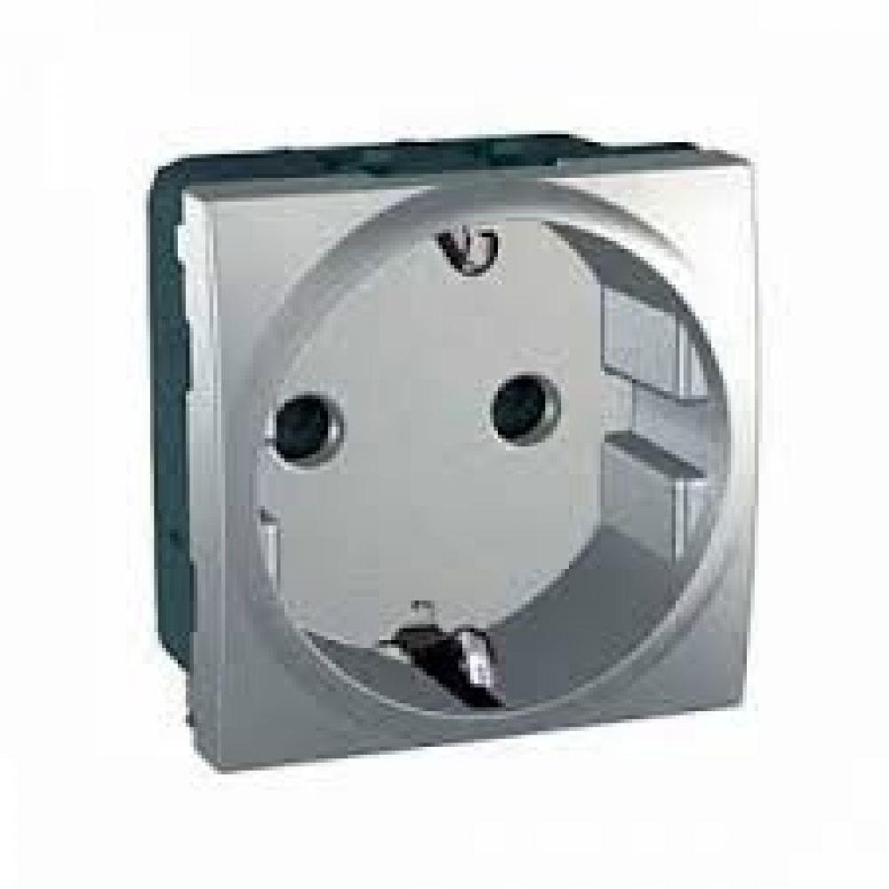 Розетка с заземлением и защитными шторками алюминий (UNICA)