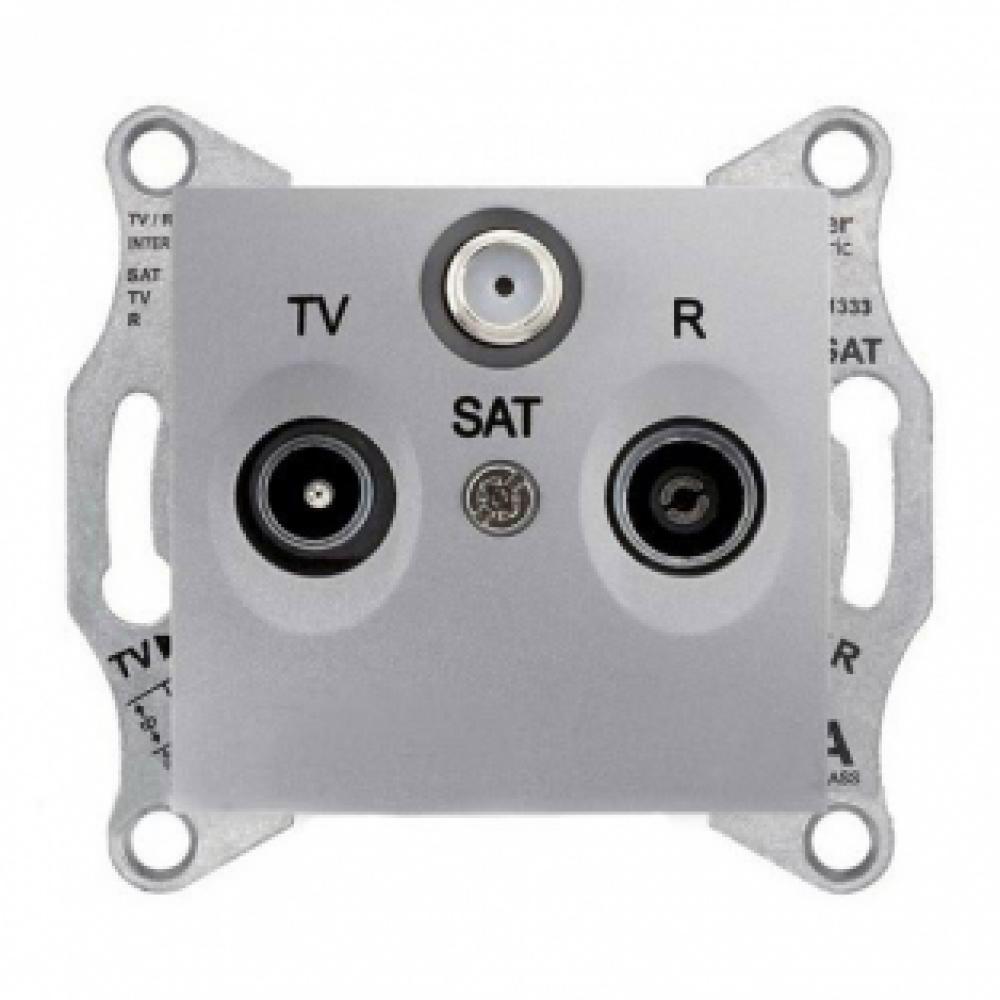 TV/R/SAT розетка проходная алюминиевая(SEDNA)