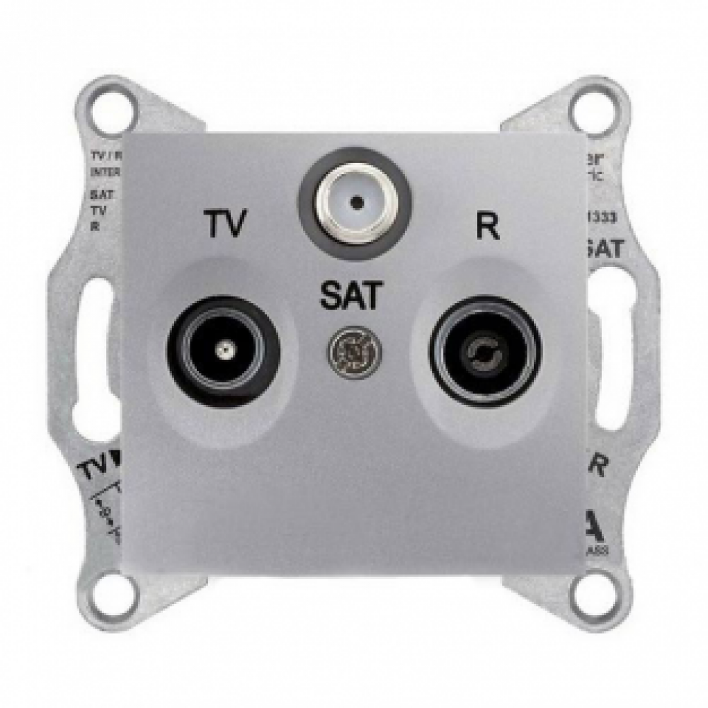 TV/R/SAT розетка проходная алюминиевая (SEDNA)