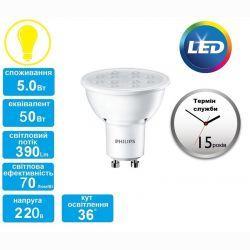 Лампа светодиодная Philips LEDspot GU10 4.5-50W 827 36D CorePro