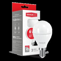 LED лампа MAXUS G45 6W яркий свет 220V E14  (1-LED-544)