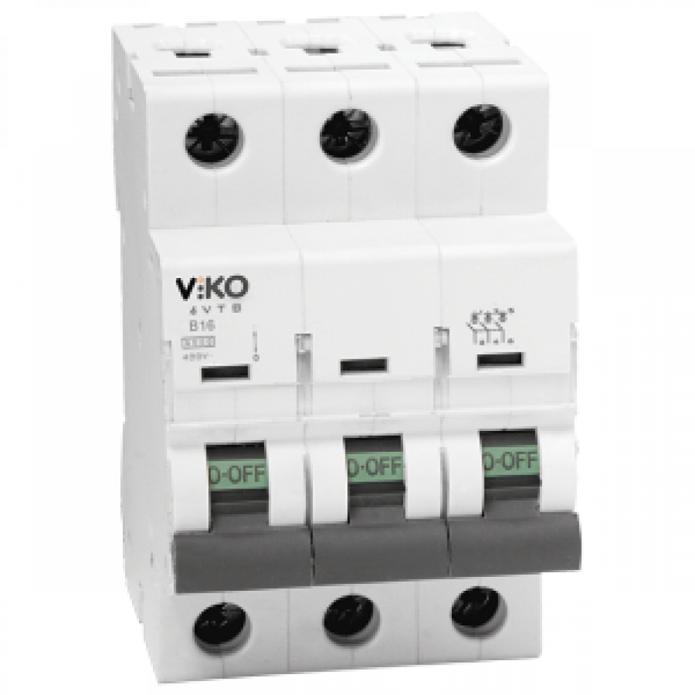 Автомат 3C (трёхполюсный) 25А  4,5КА  230/400V Тип C VIKO (4VTB-3C25)